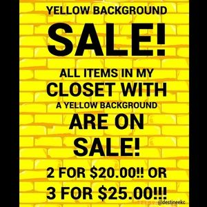 YELLOW BACKGROUND SALE! 2/$20 OR 3/$25! 💛💛💛